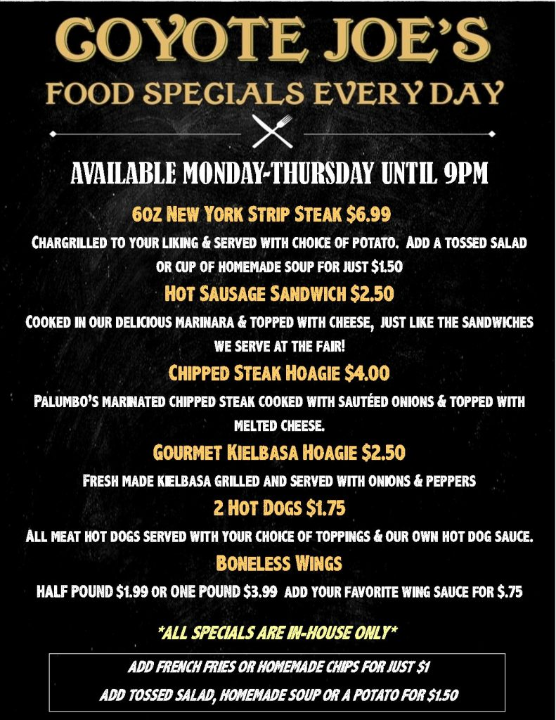 CHALK MENU daily specials