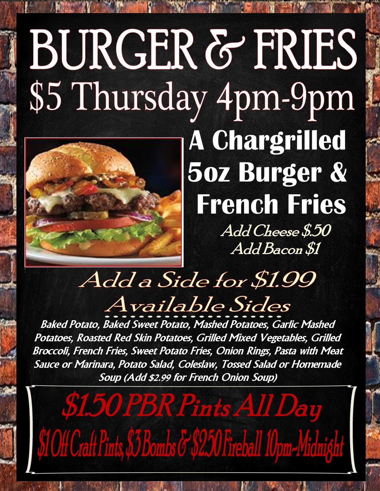 burger & fries menu new